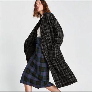 Zara Tartan Long Wool Coat